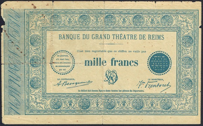 1000 francs Grand Théâtre de reims